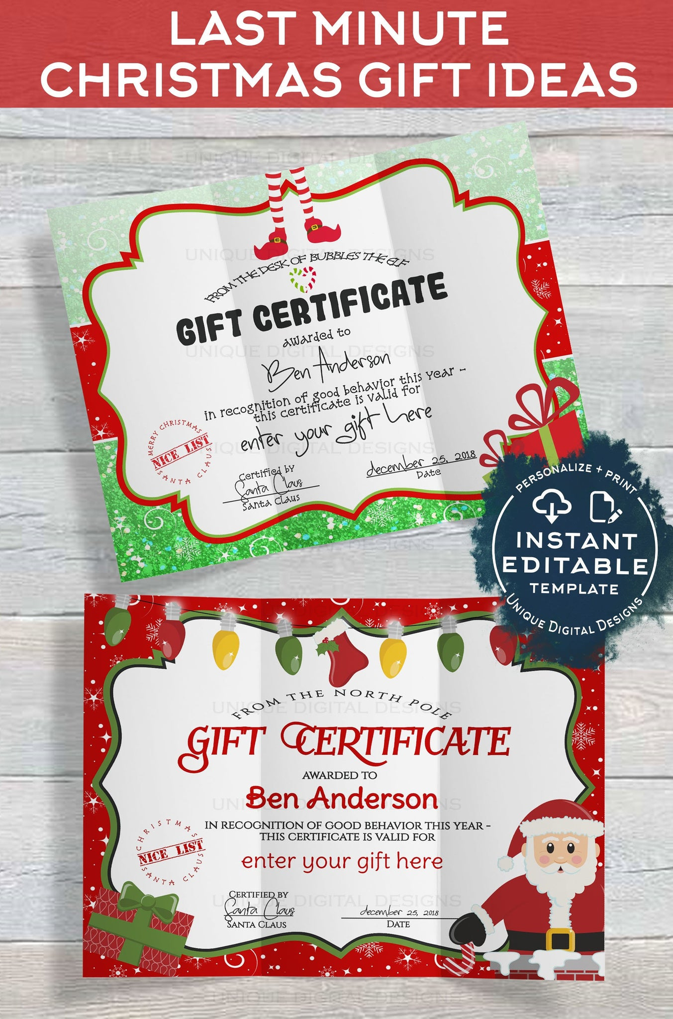 Christmas Gift Certificate Template.Gift Certificate Template Editable Gift Certificate From Santa Custom Santa Letter Last Minute Christmas Gift Printable Instant Download