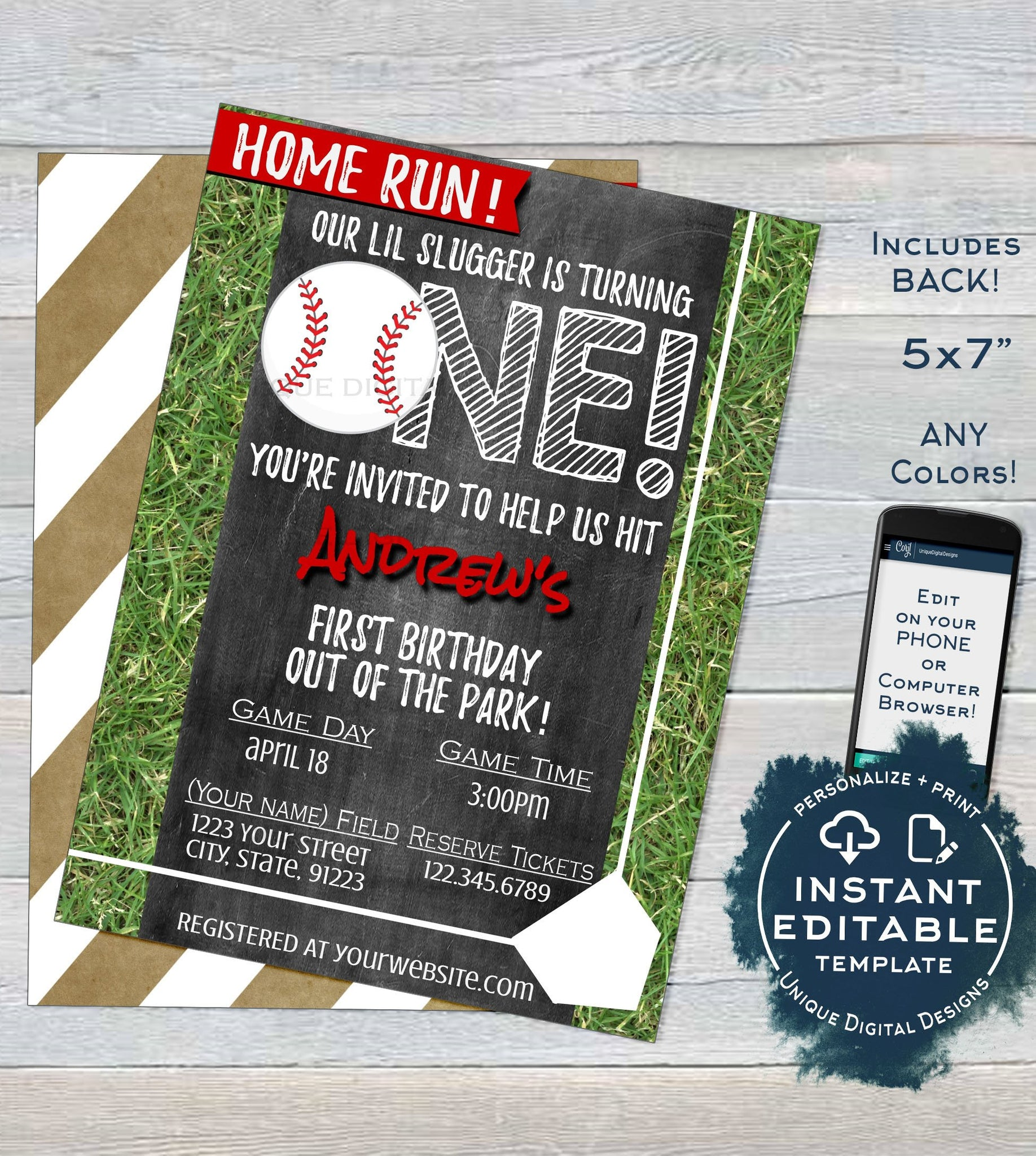 Baseball Birthday Invitation Editable First Invite One Home Run 1st Grand Slam