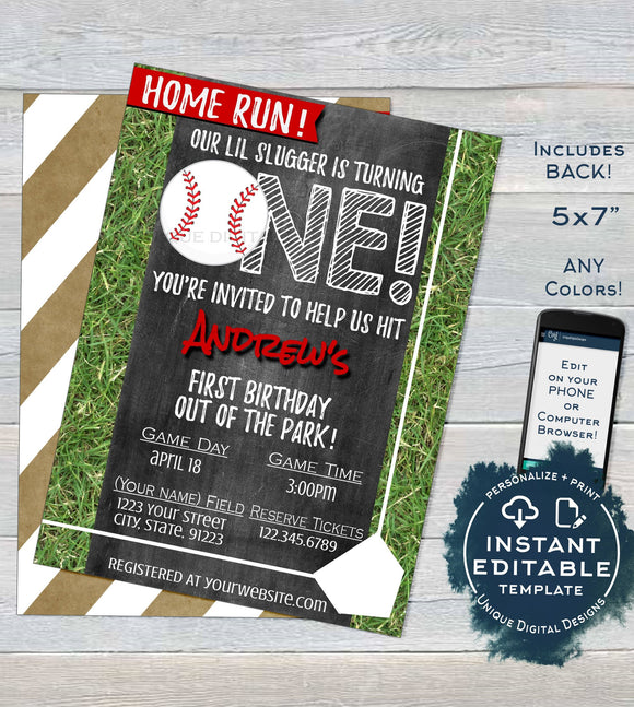 Baseball Birthday Invitation, Editable First Birthday Invite, One Home Run 1st Grand Slam, Template Custom Chalk Printable INSTANT DOWNLOAD