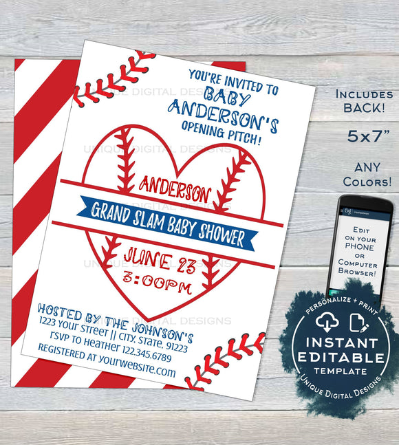 Editable Baseball Baby Shower Invitation, Baby Sprinkle Boy Invite, Homerun love, Baseball heart, Template Custom Printable INSTANT DOWNLOAD