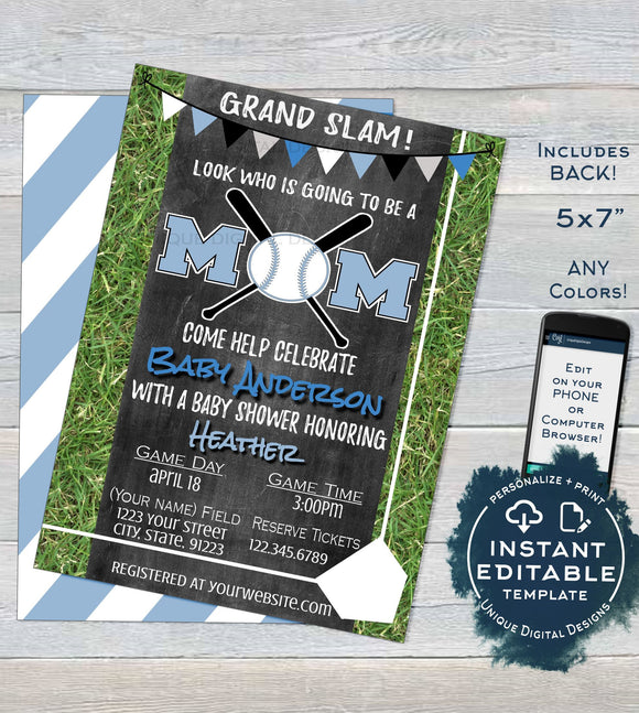 Baseball Mom Baby Shower Invitation, Editable Baby Boy Sprinkle Invite, Homerun Base, Chalkboard Template Custom Printable INSTANT DOWNLOAD