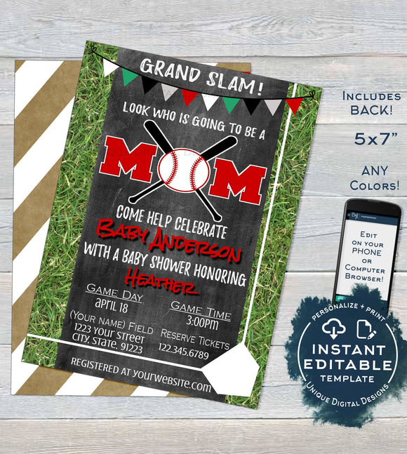 Editable Baseball Mom Baby Shower Invitation, Neutral Baby Sprinkle Invite Lil Slugger Chalkboard Template Custom Printable INSTANT DOWNLOAD