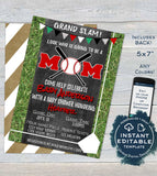 Editable Baseball Mom Baby Shower Invitation, Neutral Baby Sprinkle Invite Lil Slugger Chalkboard  Custom Printable