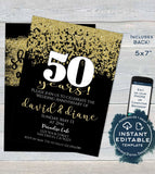 50 year Anniversary Invitation, Fiftieth Golden Wedding Anniversary, Editable 50th Surprise Party Invite Printable Template INSTANT DOWNLOAD