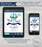 Hot Air Balloon Invitation, Editable Up Up and Away Invite, New Adventures Baby Shower, New Baby Boy Balloon Printable