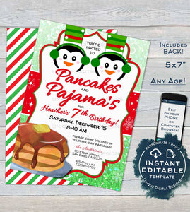 Pancakes and Pajamas Invitation, Christmas Birthday Invite, Editable Kids Pajama Pancake Party, PJs Holiday Printable
