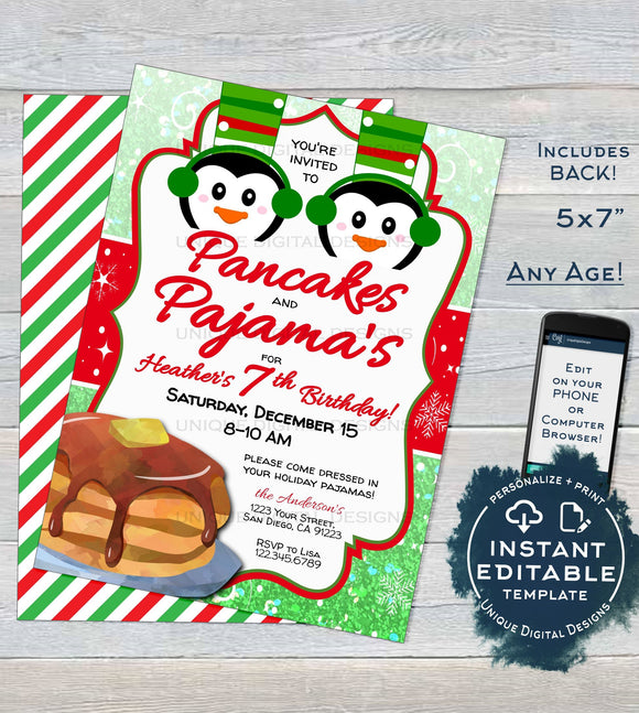 Pancakes and Pajamas Invitation, Christmas Birthday Invite, Editable Kids Pajama Pancake Party, PJs Holiday Printable INSTANT ACCESS 5x7