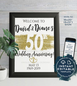 50th Anniversary Welcome Sign, ANY Year, Editable Wedding Anniversary Sign Decoration Gold Glitter Printable