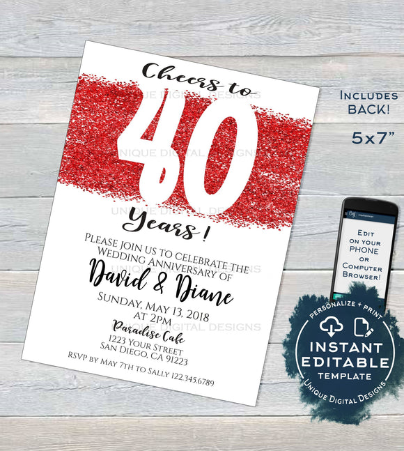 40 year Anniversary Invitation, Editable Fourtieth Wedding Anniversary, Ruby 40th Surprise Party Invite, Custom Printable INSTANT DOWNLOAD