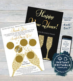 Printable Rodan and Happy New Year Cards Scratch Off, Editable Thank You R F pc appreciation Card, Custom Champagne Gifts