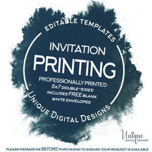 Add On Print My Order for Me Printed Invitations with Blank White Envelopes Invite Printing Services A7 5x7 double sided invitation printing