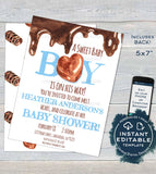 Editable Valentines Baby Shower Invitations, Sweet Baby Boy Shower Invite, Its a Boy Custom Valentine's Day, Printable INSTANT DOWNLOAD 5x7