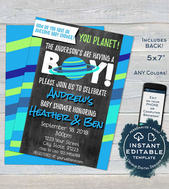 Editable Space Baby Shower Invitation, Space Theme Baby Boy Shower Invite Its a Boy Custom Out of this World, Printable INSTANT DOWNLOAD 5x7