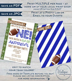 Editable Football Birthday Invitation, First Birthday Invite, Game Time Touchdown Football One  Custom Printable