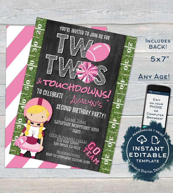 Tutu and Touchdown Invitation, Editable Football Birthday Invitation, Girls Second Birthday, Two Touchdown Printable INSTANT DOWNLOAD 5x7