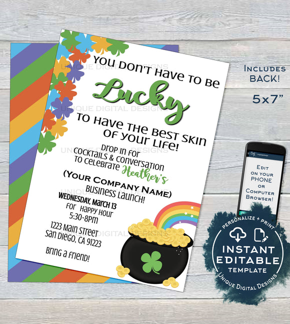 Rodan and Invitation, Editable Consultant Business Launch Party. St Patricks Day BBL Invite Lucky Green Cocktails Printable INSTANT DOWNLOAD