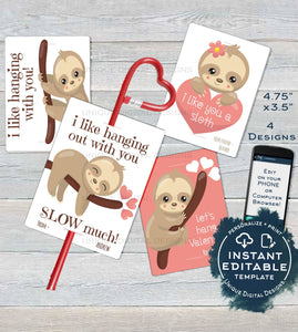 Sloth Valentine Card, Kids Editable Valentines Day Sloth Classroom, I like you a Sloth Favor Tags Printable Custom Template INSTANT DOWNLOAD