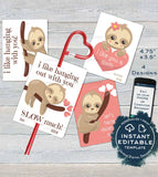 Sloth Valentine Card, Kids Editable Valentines Day Sloth Classroom, I like you a Sloth Favor Tags Printable Custom