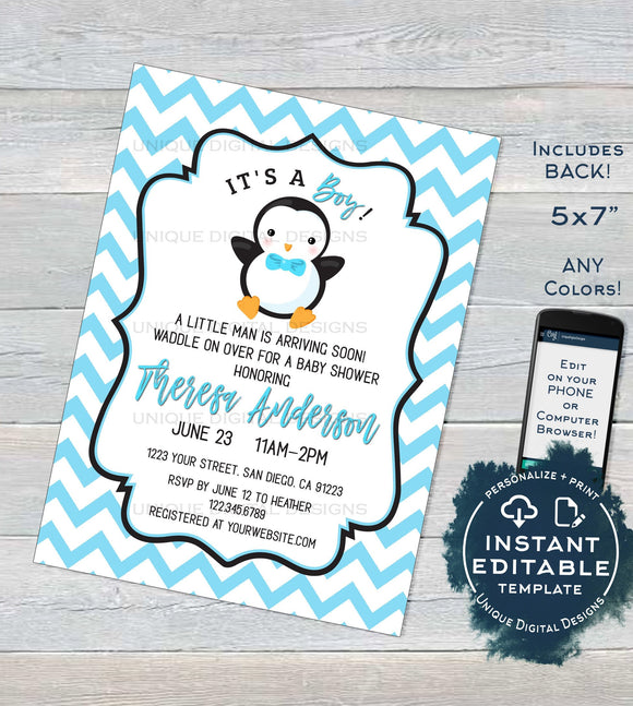 Editable Penguin Baby Shower Invitation, Baby Boy Shower Invite Waddle Over Boys Sprinkle Chevron Printable Custom Template INSTANT DOWNLOAD