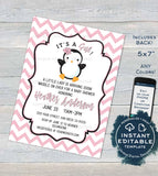 Editable Penguin Baby Shower Invitation, Girls Baby Shower Invite Waddle Over, Sprinkle Chevron Printable Custom Template INSTANT DOWNLOAD