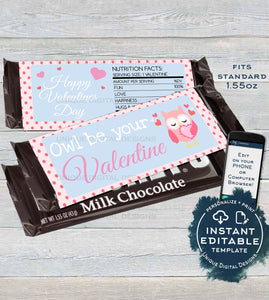 Editable Owl Valentines Day Candy Bar Wrapper, Love Chocolate Bar Owl be yours decoration, Valentine Gift Printable  1.55oz