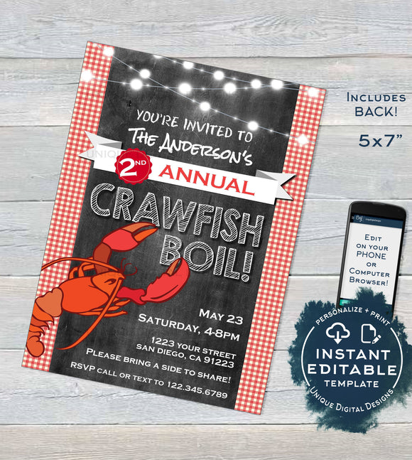 Crawfish Boil Invitation, Editable Beers and Boil, Graduation Birthday Invite, Neighborhood HOA Community bbq Printable diy INSTANT DOWNLOAD