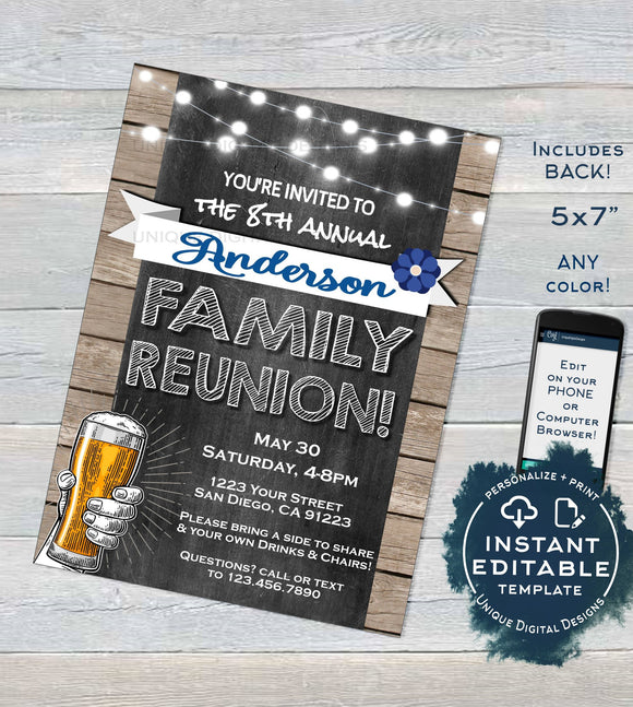 Family Reunion Invitation, Editable Annual Backyard Family BBQ Party, Summer Kick off Gathering Rustic Chalkboard Printable INSTANT DOWNLOAD