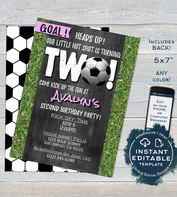 Soccer Birthday Invitation, Editable Second Birthday Invite, Score Goal Girls Soccer Kick Off Two Pink Chalkboard Printable INSTANT DOWNLOAD