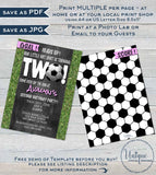 Soccer Birthday Invitation, Editable Second Birthday Invite, Score Goal Girls Soccer Kick Off Two Pink Chalkboard Printable