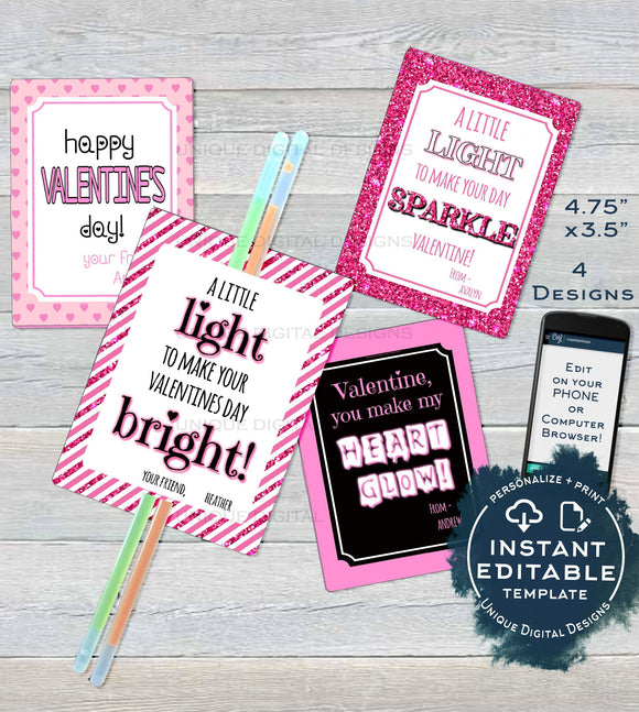 Editable Valentine Card, Glow Stick Favor Tags, Kids Valentines Cards Classroom, Valentines Day Printable Custom Template INSTANT DOWNLOAD