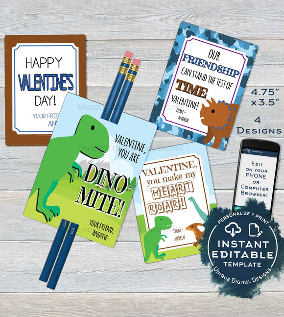 Dinosaur Valentine Cards, Pencil Favor Tag, Editable Boys Valentine Card Classroom Valentines Day Printable Custom Template INSTANT DOWNLOAD