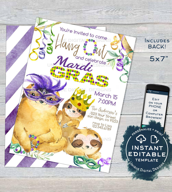 Sloth Mardis Gras Invitation, Editable Fat Tuesday Invite, Slow Down Hang Out Sloth Party, Custom Adult Printable Template INSTANT DOWNLOAD