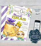 Sloth Mardis Gras Invitation, Editable Fat Tuesday Invite, Slow Down Hang Out Sloth Party, Custom Adult Printable