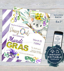 Koala Mardis Gras Invitation, Editable Fat Tuesday Invite, Slow Down Hang Out Aussie Party, Custom Adult Printable Template INSTANT DOWNLOAD