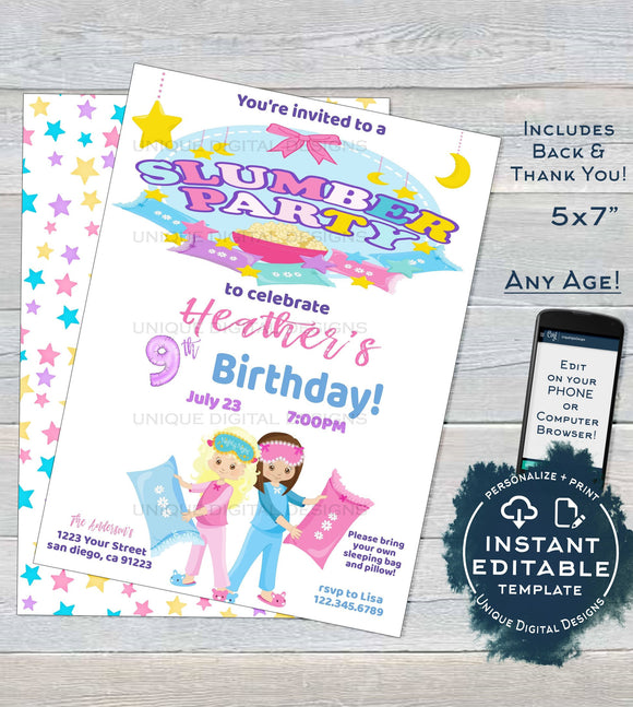 Slumber Party Invitation, Editable Girls Birthday Invite, Sleepover Birthday Printable Party, ANY Age Pajama Party Custom INSTANT DOWNLOAD
