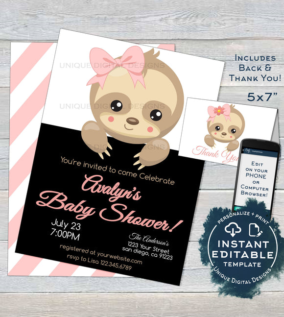 Sloth Baby Shower Invitation, Editable Girls Sloth Baby Shower Invite, Slow Down Baby Sloth, Custom Printable