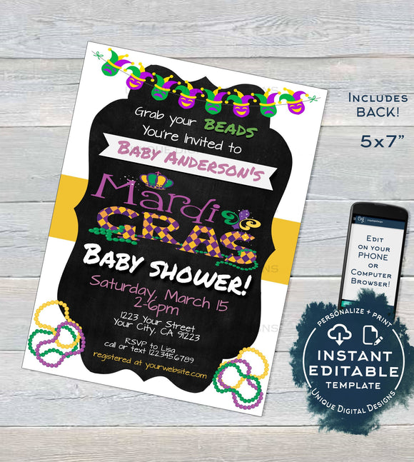 Mardis Gras Baby Shower Invitation, Editable Fat Tuesday Invite, Boy or Girl Baby Shower Party, Beads DIY Custom Printable