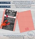 Lobster Bake Invitation, Editable Lobster Boil Invite, Beers and Boil Birthday, Lobster Fest bbq diy Printable Personalized INSTANT DOWNLOAD