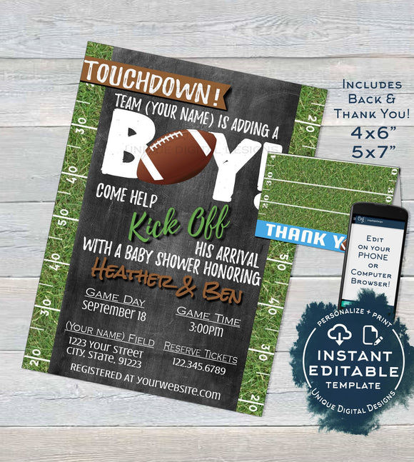Football Baby Shower Invitation, Editable Baby Sprinkle Baby Boy Invite, Touchdown Chalkboard, Printable Thank You   4x6