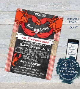 Crawfish Boil Invitation, Editable Crawfish Baby Shower Party Grill, Pinch Us Lobster Bake, Little Snapper diy Personalized