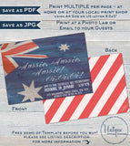 Australia Day Invitation, Editable Rustic Aussie Invite, Aussie Oi Oi 26 January Flag, Summer BBQ Party Personalize diy