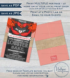 Lobster Bake Invitation, Editable Crawfish Boil Engagement Party, BBQ Grill Pinch Us Married Wedding Feast diy Personalized