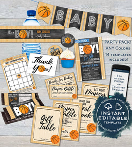 Basketball Baby Shower Invitation KIT, Diaper Raffle Books Baby Boy, Editable Slam Dunk Party Chalkboard Printable Template INSTANT DOWNLOAD