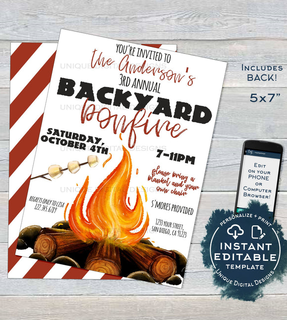 Bonfire Invitation, Editable Bonfire Party Invitation, Backyard Bonfire Invite, Neighborhood Camping Smores Fall Party, INSTANT DOWNLOAD 5x7