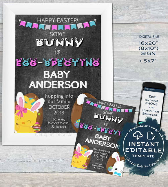 Easter Baby Announcement Sign Some Bunny is Egg-specting Baby Invite Baby Personalize Custom Printable INSTANT Self EDITABLE  11x14