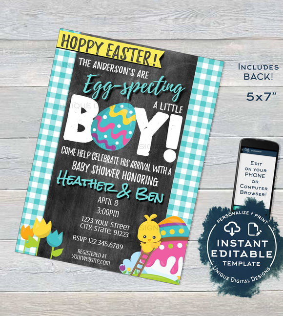 Easter Baby Shower Invitation Eggspecting Baby Boy Invite Easter Egg Hoppy Easter - Personalize Custom Printable INSTANT Self EDITABLE 5x7