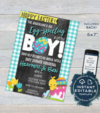 Easter Baby Shower Invitation, Editable Eggspecting Baby Boy Invite,  Spring Easter Egg Hoppy Easter, Personalize Custom Printable