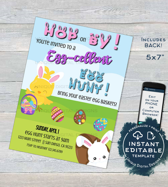 Easter Egg Hunt Invitation, Editable Easter Egg Invite,  Spring Spring Eggcellent Egg-cellent Party, Bunny School PTA pto Printable
