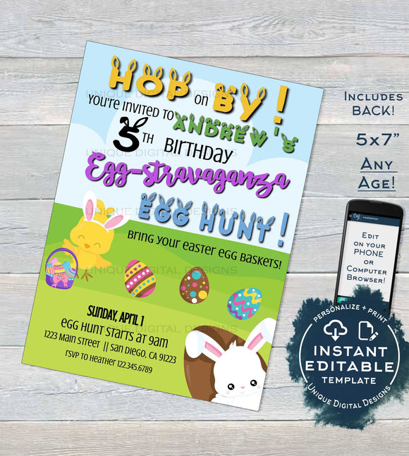 Easter Birthday Eggstravaganza Invitation Egg-stravaganza Egg Hunt Hop on By Any Event Custom Printable INSTANT Download Self EDITABLE 5x7