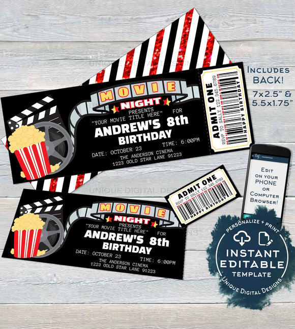 Movie Night Invitation, Movie Birthday Party Invite, Cinema Editable Movie Night Ticket Invites, Custom Printable Template INSTANT DOWNLOAD